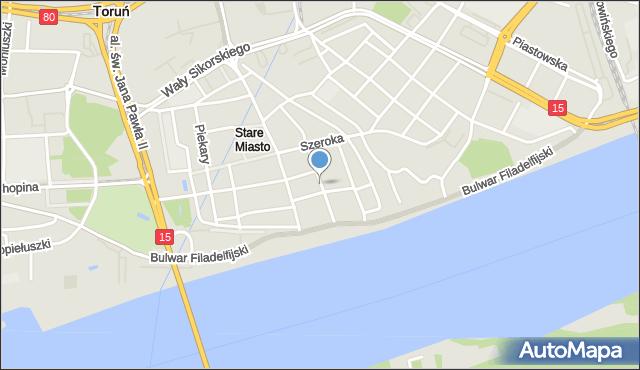 Toruń, Łazienna, mapa Torunia