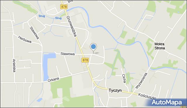 Tyczyn powiat rzeszowski, Laurowa, mapa Tyczyn powiat rzeszowski