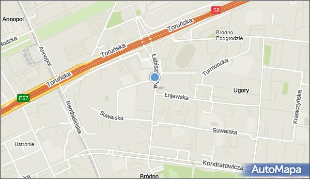 Warszawa, Łabiszyńska, mapa Warszawy