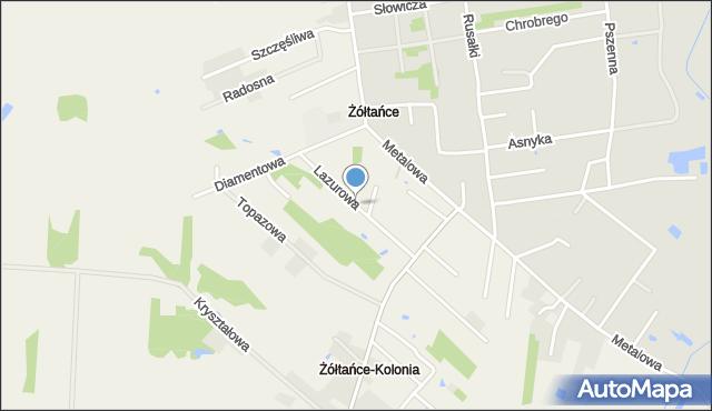 Żółtańce-Kolonia, Lazurowa, mapa Żółtańce-Kolonia