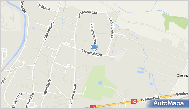 Andrychów, Lenartowicza Stanisława, mapa Andrychów