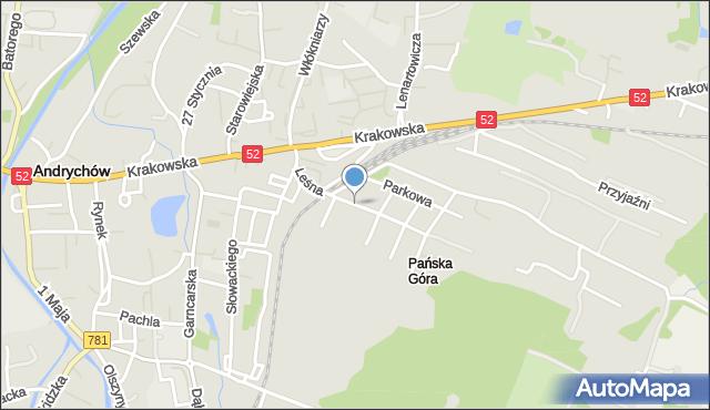 Andrychów, Leśna, mapa Andrychów