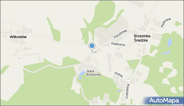 Brzezinka Średzka, Leśna, mapa Brzezinka Średzka