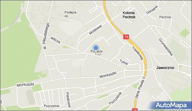 Jaworzno, Leśna, mapa Jaworzno