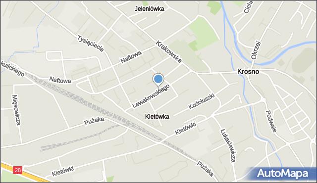 Krosno, Lewakowskiego Augusta, mapa Krosna