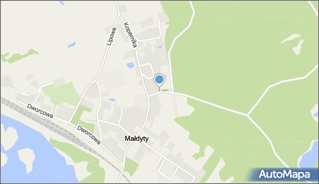 Małdyty, Leśna, mapa Małdyty