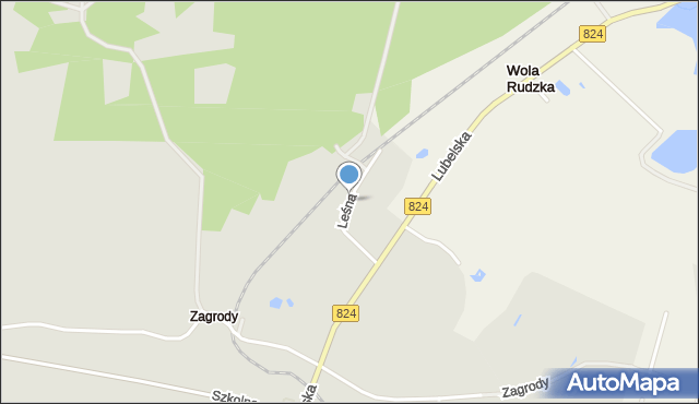 Opole Lubelskie, Leśna, mapa Opole Lubelskie