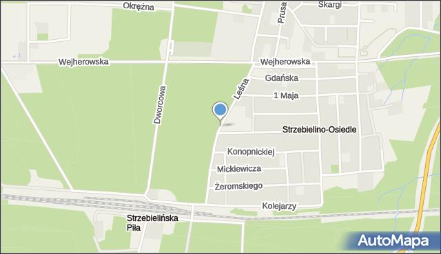 Strzebielino, Leśna, mapa Strzebielino