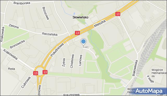 Szczecin, Lednicka, mapa Szczecina
