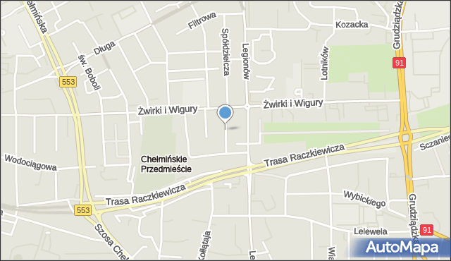 Toruń, Lecha, mapa Torunia