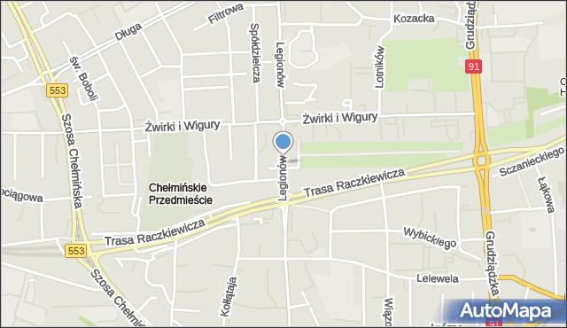 Toruń, Legionów, mapa Torunia