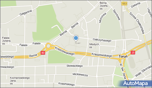 Toruń, Leśna, mapa Torunia