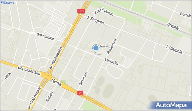Warszawa, Lechicka, mapa Warszawy