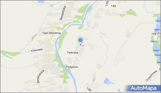 Wieprz powiat wadowicki, Łęg, mapa Wieprz powiat wadowicki