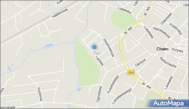 Chełm, Lipowa, mapa Chełma