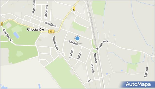 Chocianów, Lipowa, mapa Chocianów
