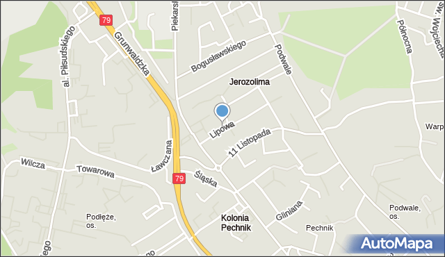 Jaworzno, Lipowa, mapa Jaworzno