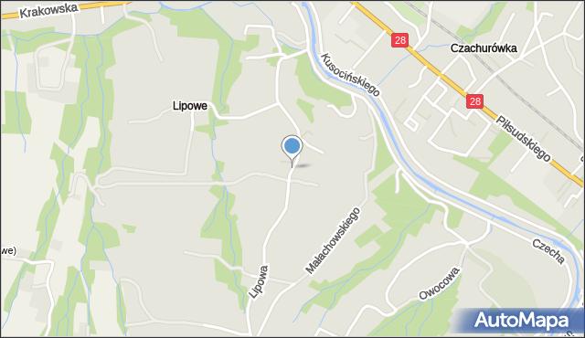 Limanowa, Lipowa, mapa Limanowa