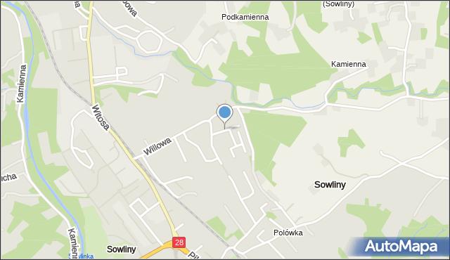 Limanowa, Lisia, mapa Limanowa