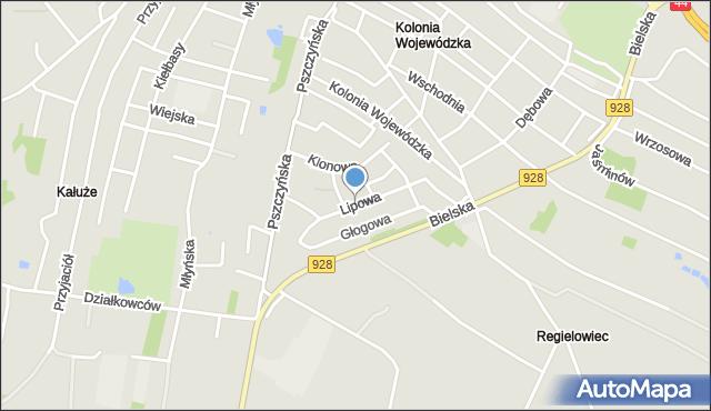 Mikołów, Lipowa, mapa Mikołów