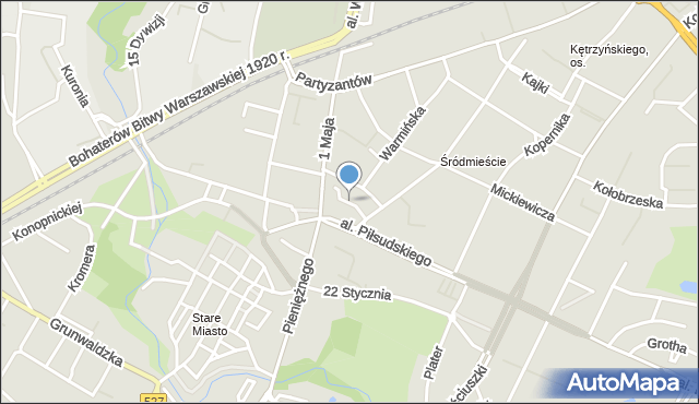 Olsztyn, Liszewskiego Jana, mapa Olsztyna