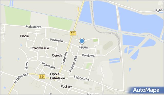 Opole Lubelskie, Lipowa, mapa Opole Lubelskie