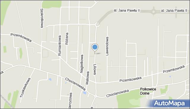 Polkowice, Liliowa, mapa Polkowice