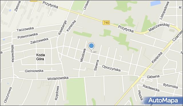 Radom, Lipowa, mapa Radomia