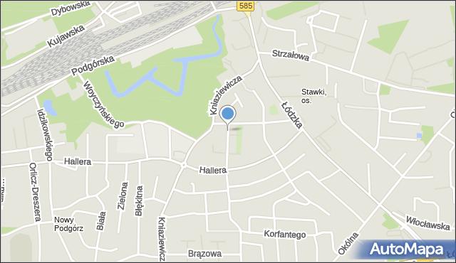 Toruń, Licealna, mapa Torunia