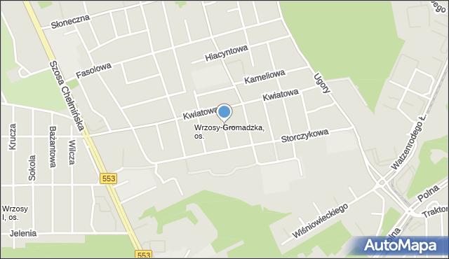 Toruń, Liliowa, mapa Torunia