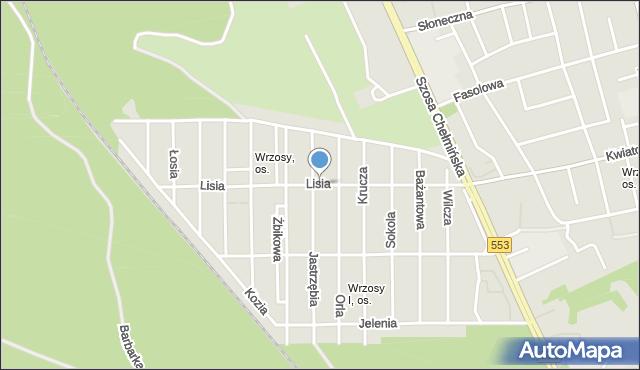 Toruń, Lisia, mapa Torunia