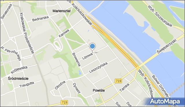 Warszawa, Lipowa, mapa Warszawy