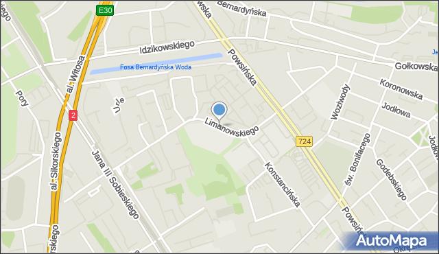 Warszawa, Limanowskiego Bolesława, mapa Warszawy