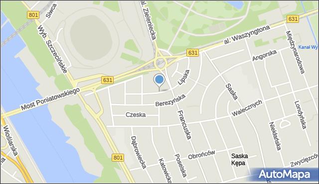 Warszawa, Lipska, mapa Warszawy