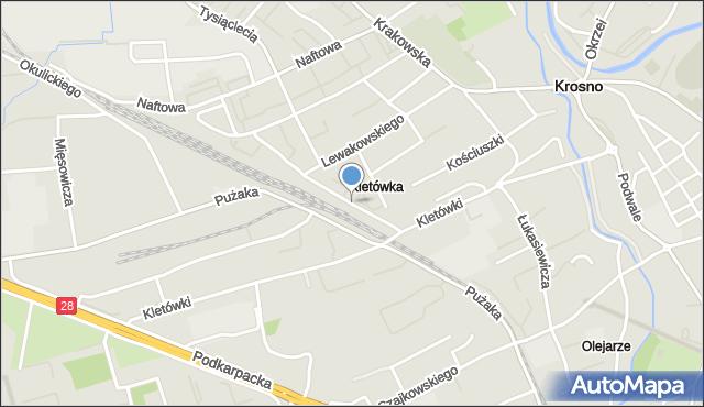 Krosno, Lniarska, mapa Krosna