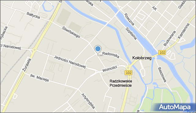 Kołobrzeg, Lotnicza, mapa Kołobrzegu