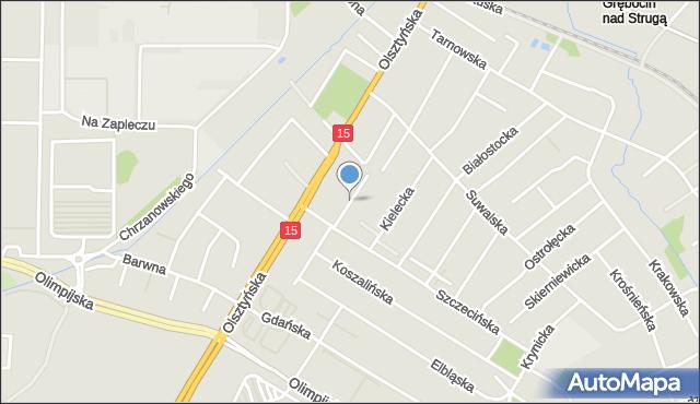 Toruń, Łomżyńska, mapa Torunia