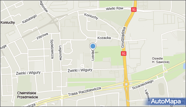 Toruń, Lotników, mapa Torunia