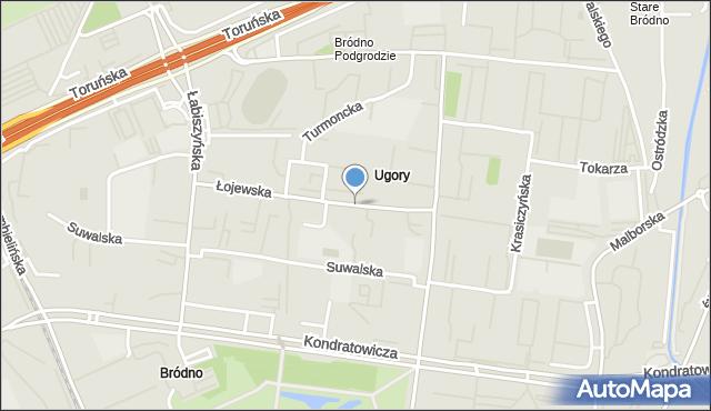 Warszawa, Łojewska, mapa Warszawy