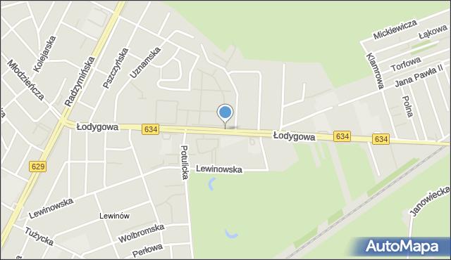 Warszawa, Łodygowa, mapa Warszawy