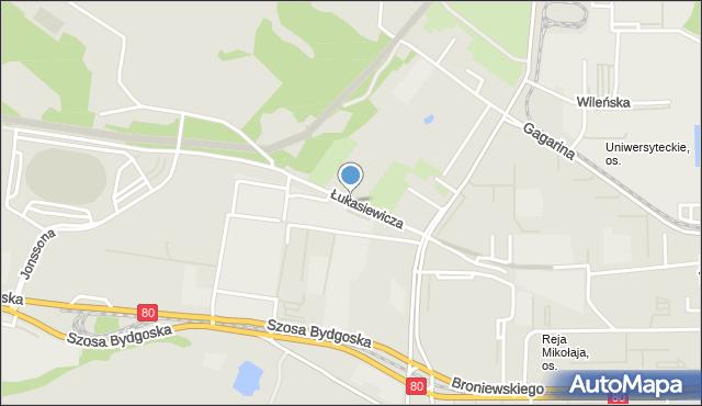 Toruń, Łukasiewicza Ignacego, mapa Torunia