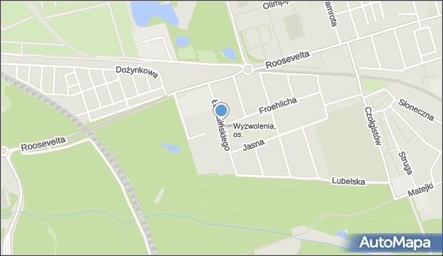 Zabrze, Łukasińskiego Waleriana, mjr., mapa Zabrza
