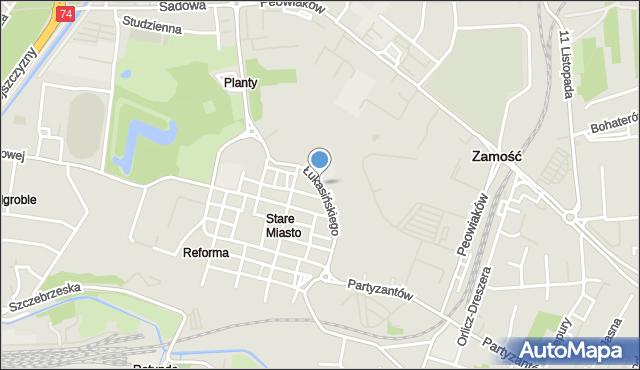 Zamość, Łukasińskiego Waleriana, mjr., mapa Zamościa