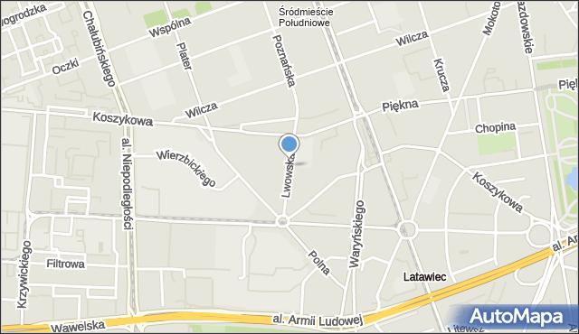 Warszawa, Lwowska, mapa Warszawy