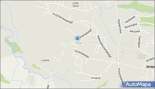 Kraków, Łysogórska, mapa Krakowa