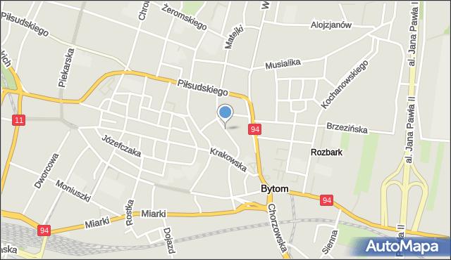 Bytom, Matejki Jana, mapa Bytomia