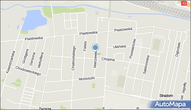 Częstochowa, Malczewskiego Jacka, mapa Częstochowy