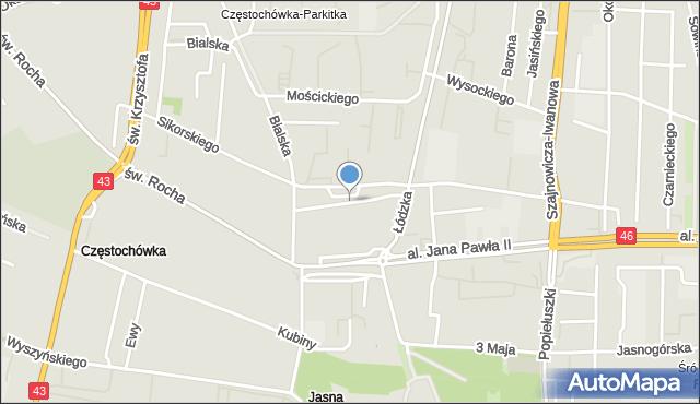 Częstochowa, Marconiego Guglielmo, mapa Częstochowy