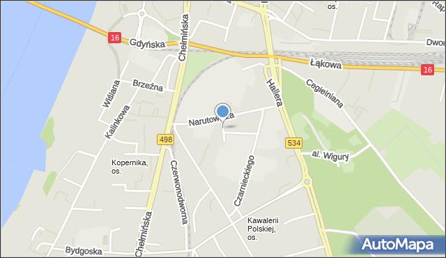 Grudziądz, Matejki Jana, mapa Grudziądza