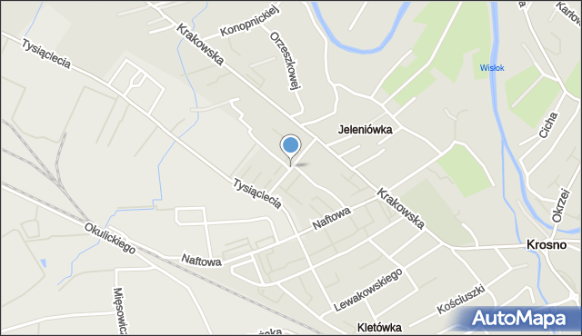 Krosno, Magurów Jana i Stanisława, mapa Krosna